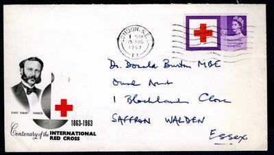 Stamped addressed envelope, produced for the Centenary of the International Red Cross 1863-1963