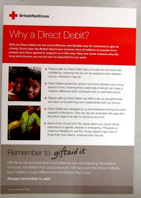 poster advertising regular gifts by Direct Debit