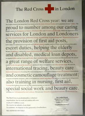 Poster advertising the work of the British Red Cross in London