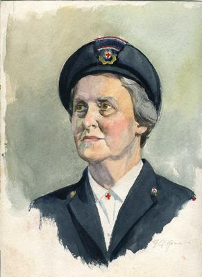 Watercolour sketch of the head and shoulders of an unidentified woman in British Red Cross outdoor uniform. By F.G. Jones.