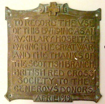 commemorative plaque celebrating the use of a building as a hospital by the Scottish Branch of the British Red Cross