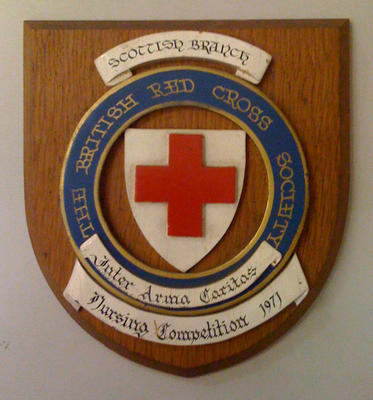 commemorative plaque celebrating the Scottish Branch British Red Cross Society Nursing Competition in 1971