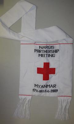 cloth bag commemorating the Nargis Partnership Meeting held at Myanmar 17-18 February 2009