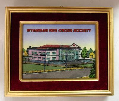 framed Myanmar Red Cross Society building, made from crushed gems