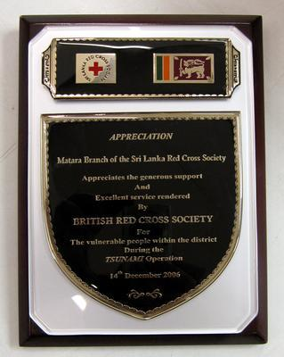 Plaque in appreciation of Matara Branch of the Sri Lankan Red Cross Society to the British Red Cross following the Tsunami operation
