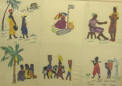 embroidery made in a Red Cross hospital in Africa
