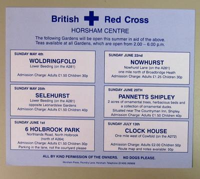 poster advertising gardens open in aid of Horsham Centre