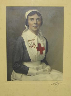 Colour drawing of an unknown woman in British Red Cross Society indoor member's uniform