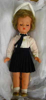 female doll dressed in Red Cross uniform of Lebanese Red Cross