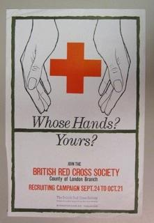Poster advertising a recruiting campaign for the British Red Cross Society County of London Branch