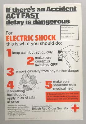 Poster promoting what to do in case of electric shock