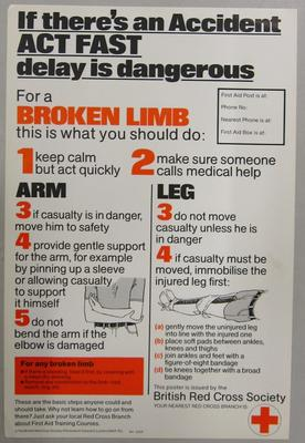 Poster promoting what to do in case of a broken limb