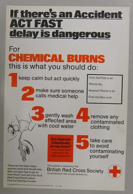 Poster promoting what to do in case of chemical burns