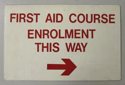 Sign: First Aid course
