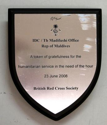 Small plaque given to the British Red Cross by the Island Development Committee on Madifushi Island