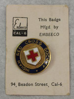 metal badge: Indian Red Cross Society