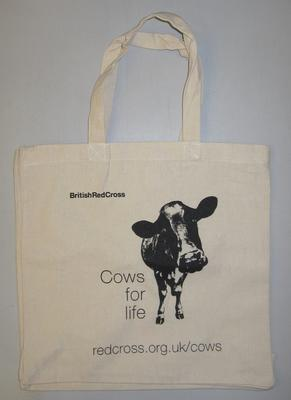 Cotton bag printed with an image of a cow and the caption 'Cows for life'; Fundraising/bag; 2891/1