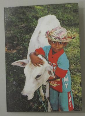 Notecard featuring a colour image of a young boy with a cow