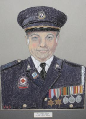 Framed pastel portrait of Mr Sidney Fenton in British Red Cross outdoor uniform.