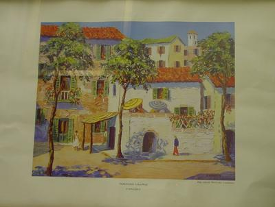 Red Cross Picture Library print, titled Corsican Village - Chandos.