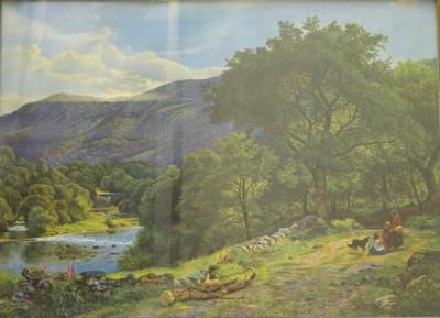 Red Cross Picture Library print: Un-named: pastoral scene, wooded mountains, lake, group with children and dog