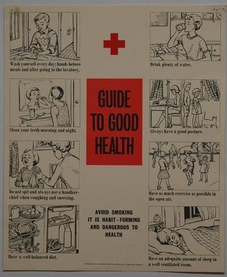 British Red Cross Youth and Juniors poster: Guide to Good Health illustrated with eight drawings.