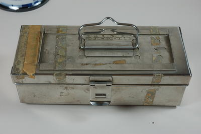 Steel box containing surgical equipment