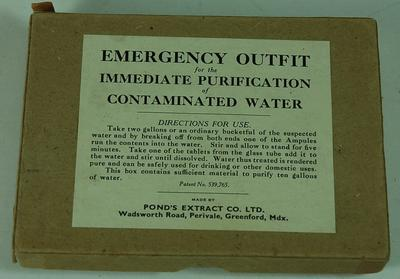 Emergency Outfit for the Immediate Purification of Contaminated Water