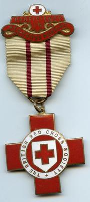 British Red Cross Proficiency badge in Red Cross Nursing; J Gaunt (b.1884, d.1991); Medals and Badges/badge; 3128/2