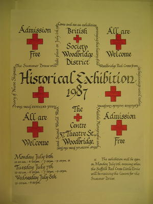 Poster advertising an Historical Exhibition held at the Red Cross Centre in Woodbridge in 1987