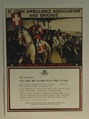 poster produced as part of St John Ambulance Centenary, 1987
