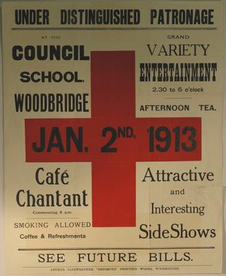 Poster advertising entertainments at the Council School, Woodbridge - 2nd January 1913