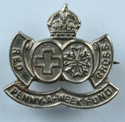 'Penny-a-Week Fund' badge, silver-coloured.