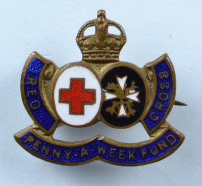 'Penny-a-Week Fund' badge, coloured metal.