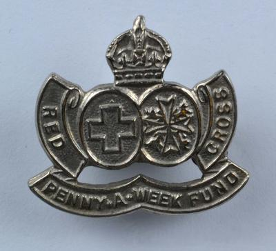 Penny-a-Week fund badge, silver coloured.