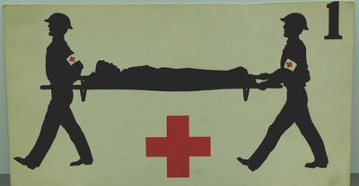Small Geneva Convention poster, illustrating the First Geneva Convention regarding the amelioration of the condition of the wounded and sick in armed forces in the field.