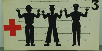 Small Geneva Convention poster illustrating the Third Geneva Convention relative to the treatment of prisoners of war.