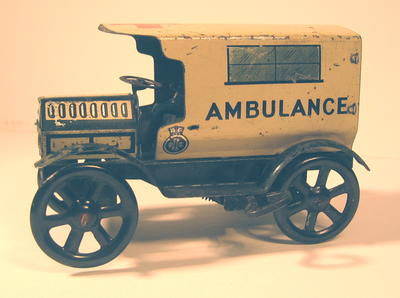 model of a motor ambulance (wind up model)