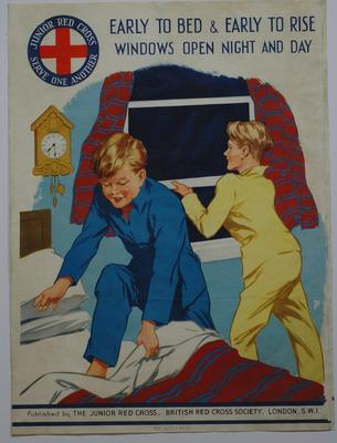 Part of the Junior Red Cross Health Laws: 'Early to Bed & Early to Rise - Windows Open Night and Day'