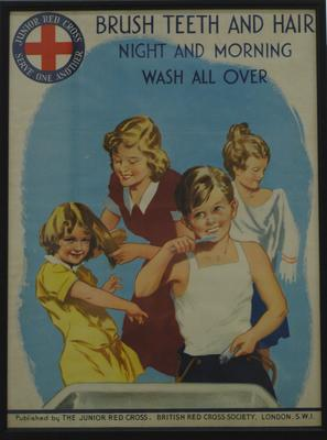 Junior Red Cross poster: 'Brush Teeth and Hair Night and Morning: Wash All Over'