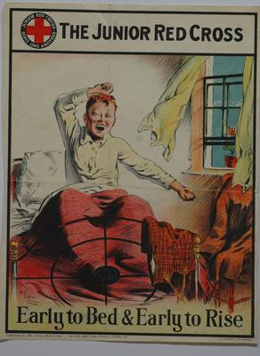 Junior Red Cross poster: Early to Bed and Early to Rise - different series from (1)