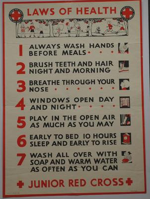 Junior Red Cross poster: Laws of Health