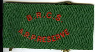 Green brassard with red letters: BRCS ARP Reserve