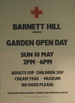 poster advertising an Garden Open Day at Barnet Hill, 1987