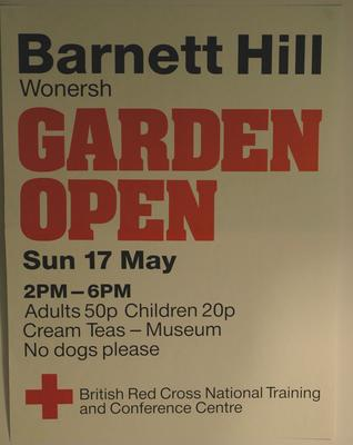 poster advertising an Garden Open Day at Barnet Hill, 1987