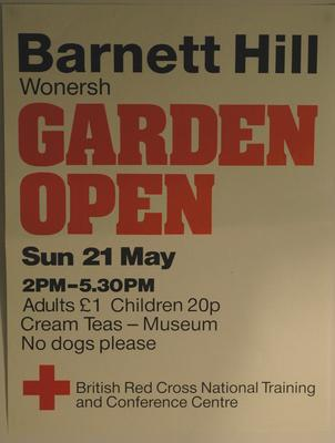 poster advertising a Garden Open Day at Barnet Hill, 1989