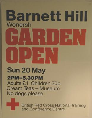 poster advertising a Garden Open Day at Barnet Hill, 1990