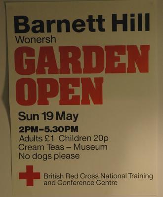 poster advertising a Garden Open Day at Barnet Hill