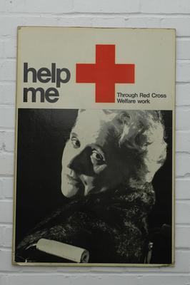 Poster (on card): 'help me - Through Red Cross Welfare Work'