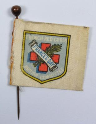 Small silk-backed paper collecting flag with original pin: French Red Cross British Committee: France's Day